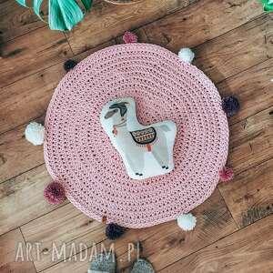 dywanik chodniczek dziecięcy z pomponami - dywanik z pomponami, sznurkowy