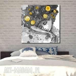 obraz xxl konbieta 14 - 80x80cm design na płótnie autorski wzór, obraz, kobieta