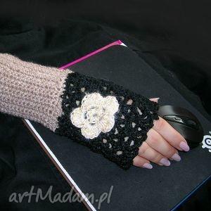 handmade rękawiczki ocieplacz, rękawiczka czerń i beż do pracy przy