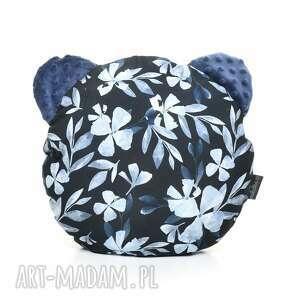 poduszka podusia miś blue flowers - bawełna wyprawka, minky