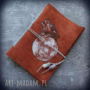 Notes A6 ze skórzaną miękką okładką Wilczy Księżyc - ręcznie robiony i malowany, wilk