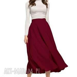 spódnica maxi z tkaniny zamkiem ozdobnym, t332, burgundowa, spódnica