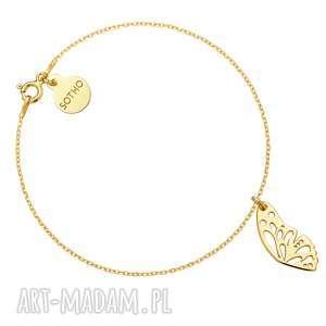 złota bransoletka ze skrzydełkiem motyla, bransoletka, żółte, złoto, skrzydełko