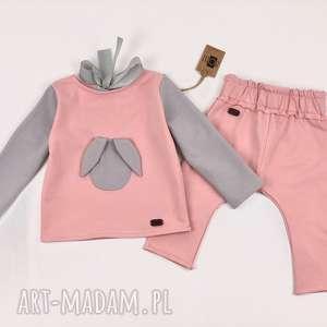 Prezent Pudrowy królik komplet spodnie i bluzeczka, komplet, dres, zestaw, prezent