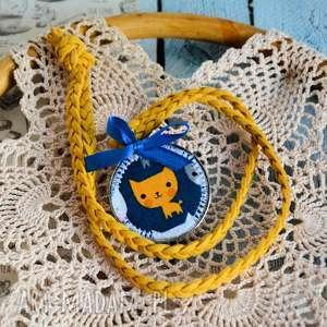 naszyjnik dziecięcy - rudy kotek - medalion, biżuteria dziecko, bezpieczny
