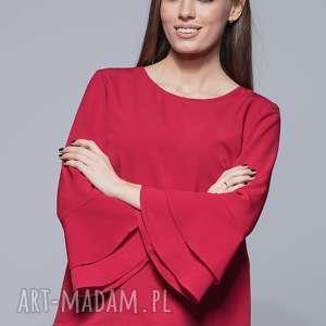bluzka z szerokimi rękawami- czerwona h030 - bluzka, elegancka bluzka, kobieca bluzka