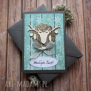 Cynamonowe kartki: świąteczna kartka v, renifer, bombki, boże narodzenie, świąteczne