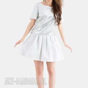 bluzki bluzka biało/srebrna, bluzka, biała, srebrna