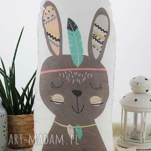 Poduszka przytulanka, indiański króliczek, bawełna, różowe minky!, króliczek
