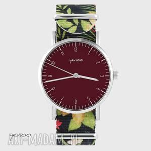 zegarek - simple elegance, bordo kwiaty, nato, zegarek, bransoletka, kwiaty