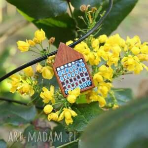 mahoniowy domek, naszyjnik - naszyjniki, drewno, geometryczne, natura, rzemień