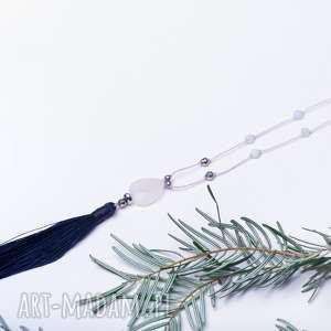 wyjątkowy prezent, whw boho rose quartz #3, długi, frędzel, boho, kwarc, kwarc
