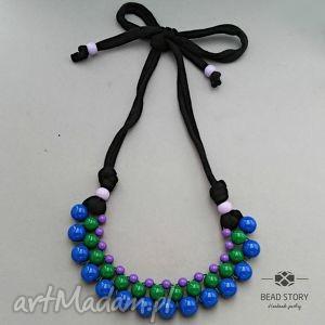Naszyjnik z korali kobaltowych zielonych fioletowych, korale, kolorowe, akryl