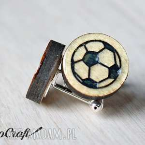 Drewniane spinki do mankietów PIŁKA NOŻNA seria Color, spinki, drewniane, piłka