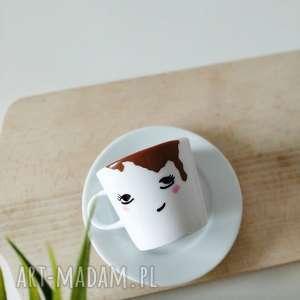 handmade kubki filiżanka zalana kawą 300 ml spodek