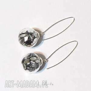 kolczyki wiszące - srebrne kryształki, kolczyki, bańki, szklane