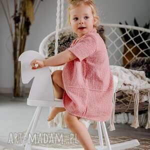 sukienka muślinowe groszki, letnia, muślin, dziewczynka, rękodzieło