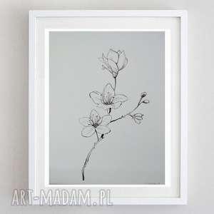 kwiaty-praca wykonana tuszem format