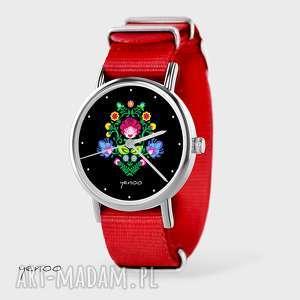 zegarki zegarek, bransoletka - folkowy, czarny czerwony, nato