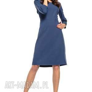 Taliowana sukienka z tkaniny rękawem 3/4, T265, granatowy, wyjątkowo, elegancka
