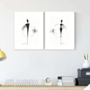 zestaw 2 grafik a4 wykonanych ręcznie, grafika czarno-biała, abstrakcja