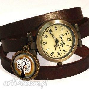 drzewko - zegarek bransoletka na skórzanym pasku - białe, romantyczna