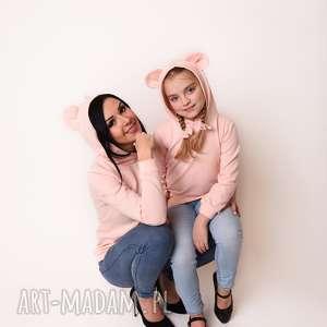 latori - bluza dziecięca z uszami kolekcji mama i córka ld47/2 jasny róż