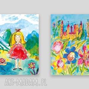 2 plakaty do pokoju dziewczynki, grafiki dla ładne dekoracje