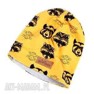 Musztardowa czapka w misie czapki godeco czapka, ciepła w-misie