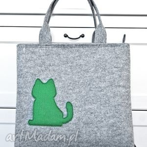 torba filcowa - zielony kotek, torebka z filcu, filcowa, filc, kot