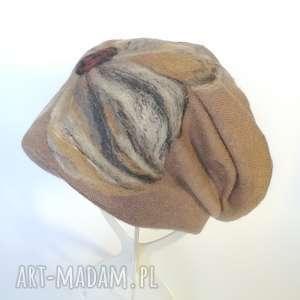 czapka wełniana filcowana beżowa zimowa handmade boho, wełniana, zimowa,