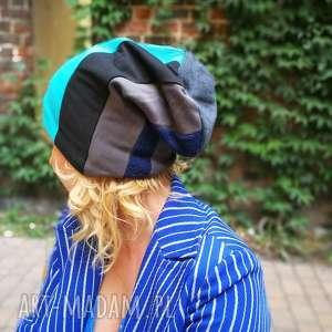 hand-made czapki czapka damska patchwork dzianina boho