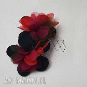 JESIENNY GRZEBIEŃ, jesień, grzebień, jedwab, czerwony, khaki, czarny