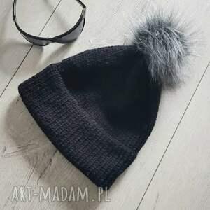 gruba ciepła czapka unisex z podwójnym rondem i pomponem, zimowa czapka
