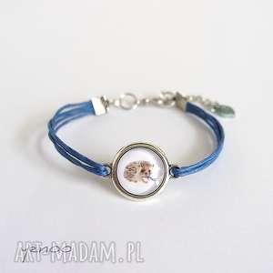 bransoletka - jeżyk sznureczki, niebieska, bransoletka