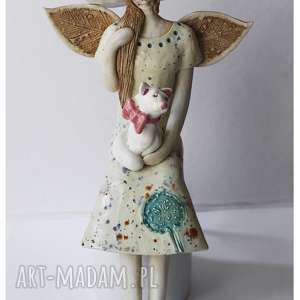 Anioł z wytwornym kotem, ceramika, anioł, kot