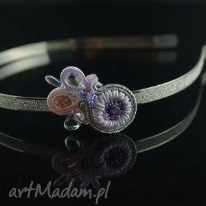 Opaska do włosów - srebrna z lila - ,opaska,przepaska,ślub,wesele,panna,młoda,