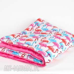 handmade pokoik dziecka kolorowy ciepły kocyk minky flamingi
