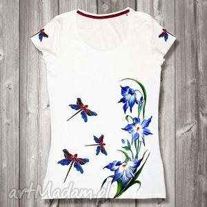bluzki ręcznie malowana bluzka ważki i kwiaty unikat z bawełny, biała, kwiaty, ważka