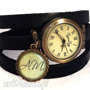 ręcznie zrobione zegarki monogram na życzenie - zegarek / bransoletka na skórzanym pasku