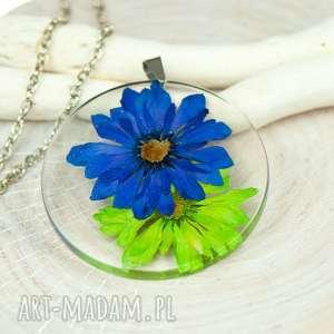 naszyjnik z suszonymi kwiatami, herbarium jewelry, rośliny w żywicy z229 - kwiaty