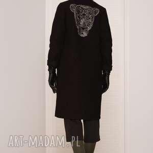 Wełniany płaszcz z tygrysem płaszcze kasia miciak design płaszcz