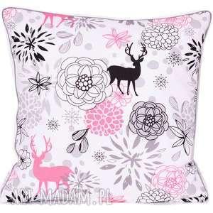 poduszka pink deer 40x40cm, deer, jeleń, poduszka-ozdobna, z-wypustką, stockholm