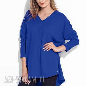 bien fashion elegancka luźna tunika damska, niebieska