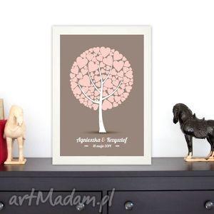 plakat do wpisów gości - drzewo serce slub, wesele, urodziny, drzewo, księga