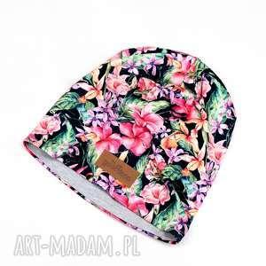 Kolorowa czapka beanie w kwiaty unisex dwustronna, czapka, beanie, kolorowa,