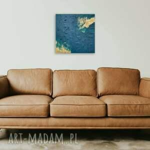pozłacany strukturalny obraz kwadrat, 50x50cm, ręcznie wykonany