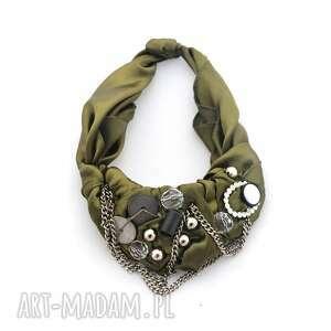 khaki naszyjnik handmade, naszyjnik, khaki, oliwkowy, butelkowazieleń, łańcuchy