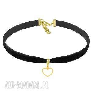 choker - black velvet - aksamit, serce