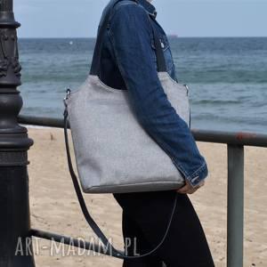 ręczne wykonanie na ramię lekka i poręczna jasno szara torba z tkaniny2708